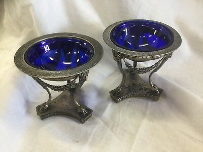 Beautiful Pair Antique 800 Coin Silver Salt Cellars With Cobalt Glass Inserts
