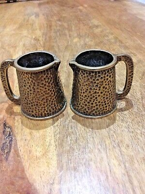 Vintage Pair of Solid Brass Jugs Tankards Hammered Effect