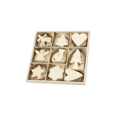 Wooden Ornament, christmas, size 7-8 cm, thickness 3 mm, plywood, 72pcs [HOB-567