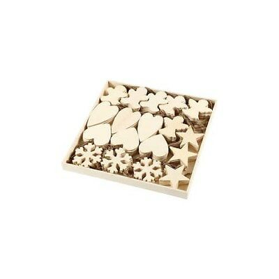 Christmas Ornaments, size 9-11 cm, thickness 4 mm, plywood, 90pcs [HOB-56405]