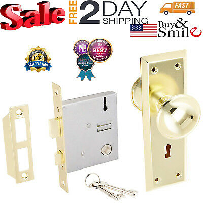 Door Brass Locks Antique Vintage Hardware Set Knob Mortise 2-1/4 in Handle Entry