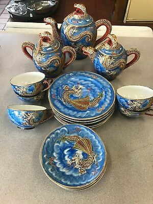 Blue DRAGON Porcelain Japan Tea Set 19 Piece Vintage Hand Painted Lithophane.