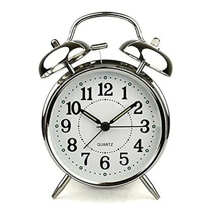 4 inch Alarm Clock With Loud Quartz Stainless Metal Colour Silver Home Decor