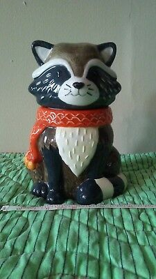 Earthenware Ceramic Raccoon Candy Jar - Great Fall Colors  New!