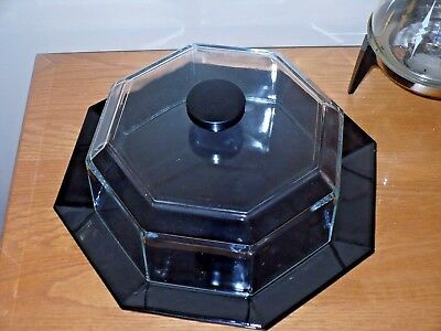 """Vintage Luminarc Arcoroc Octime Black Octagon Glass 12"""" Cake Plate W Cover Lid 1"""