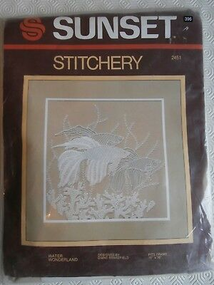 Sunset Stitchery Kit Crewel White Work Kit Water Wonderland Beta Fish NEW