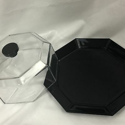 """Vintage Arcoroc Octime Black Octagon Shape Glass 12"""" Cake Plate W Cover Lid Dome"""