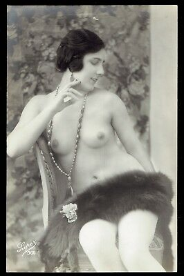 EARLY FRENCH NUDE REAL PHOTO POSTCARD - GIRL with MINK - LUPER 966 - NICE RPPC!