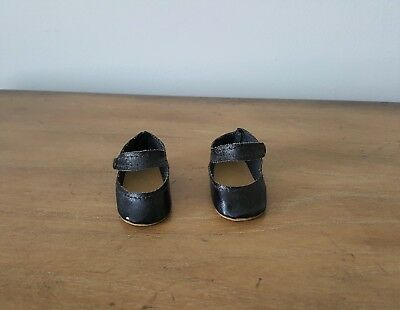 Vintage 1940's - 50's Madame Alexander Black Leatherette Doll Shoes - EXCELLENT