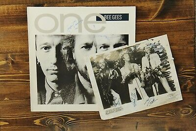 "Bee Gees Signed ""one"" Lp And Vintage Autograph Promo Photo Authentic Gibb Bros"
