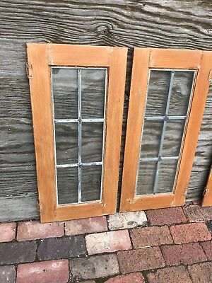 SG 2560 set of four matching cabinet doors leaded glass