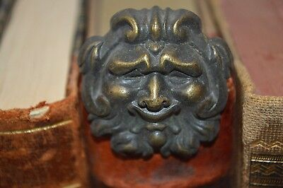 One Rare Antique French Bronze Huge Figural Gargoyle Nailhead Upholstery Tack