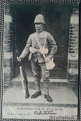 1900s UK Great Britain Boer war tropical soldier photo postcard - free shipping
