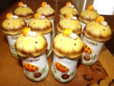 Vintage Sears Roebuck And Co Merry Mushroom 10 Spice Jars Original