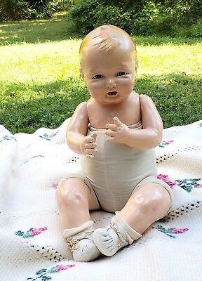 """Effanbee Bubbles Life Size Doll 24-25"""" 1924 Compo F&B Baby Original Kid Booties"""