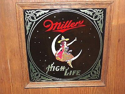 Vintage 1980 Miller High Life Beer Advertising Wall Mirror Sign Bar Girl on Moon