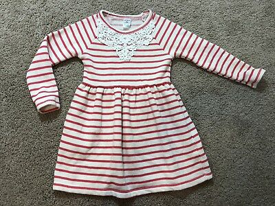 Carters Size 3T Coral Striped Toddler Girls Long Sleeved Dress Lace Detail NWOT