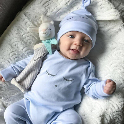 2PCS Baby Newborns Infant Cartoon Romper Jumpsuit Bodysuit Clothes+Beanie Cap