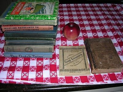 #A Lot of 12 OLD ANTIQUE VINTAGE SCHOOL CLASSROOM BOOKS ENGLISH MATH etc