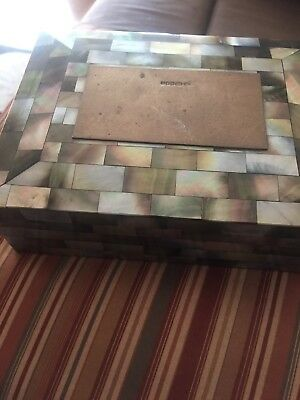 Antique Mother Of Pearl Box With Silver Disk On Top Markings