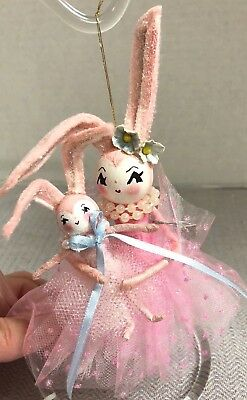 Handmade PINK EASTER BUNNY w BABY BUNNY Doll Tree Ornament-Sugar Cookie Dolls