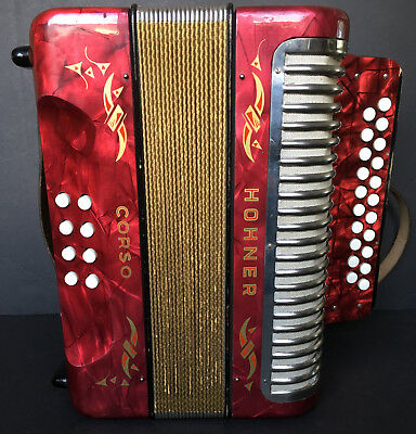 Hohner Corso Red Button Accordion Germany In The Keys Of C/F