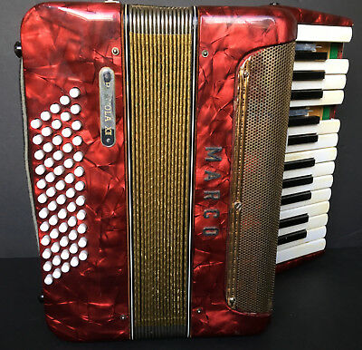 Vintage Red Pianola VII Marco Accordion For Parts Or Repair