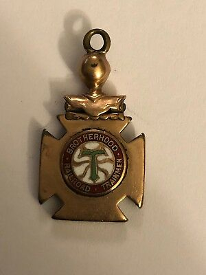 Vintage Brotherhood Railroad Trainmen Train Pocket Watch FOB Charm