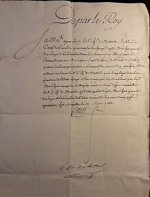 King Louis Xv Autograph - Military Order Signed On March 28, 1762