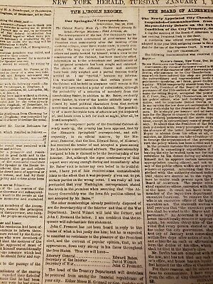 The New York Herald Jan. 2, 1861 Lincoln selects cabinet, Message from Lincoln