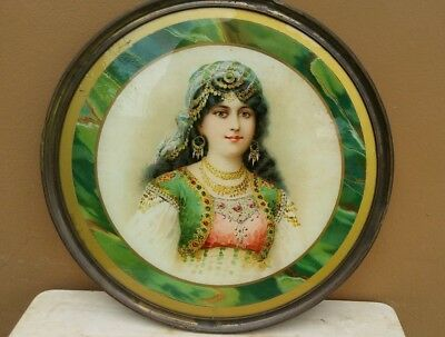 ANTIQUE FLUE COVER Orientalist Harem Girl Victorian Lithograph Picture Rare!
