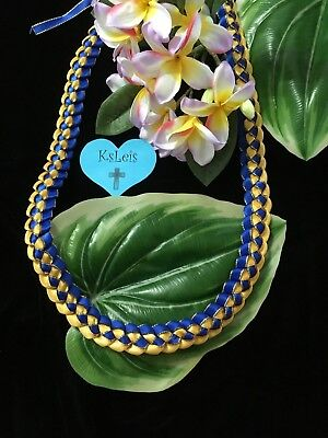 Blue Gold Ribbon Lei Berkeley UCLA FVHS Graduation Celebrate Gift Hawaii
