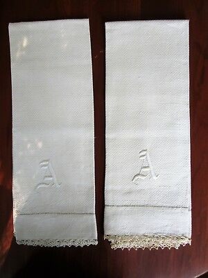 "Pair of Monogram ""A"" Huck Towel Tatting Border Ecru Heavy Weight 36 x 19"" Large"