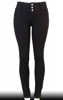 High Waist  Stretch Push-Up Colombian Style Skinny Jeans in Black  R057