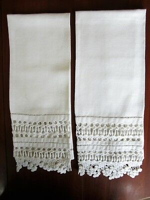 "Pair Antique Huck Linen Towels 27 x 14"" Deep Crochet Continental Cording Edging"