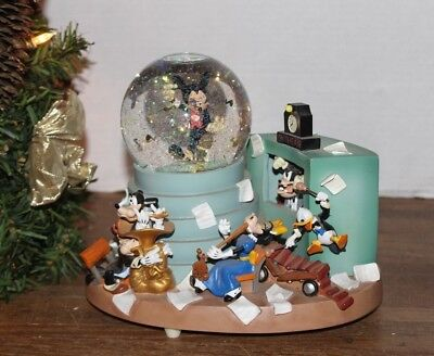 """Disney Auctions """"Mickey Mouse & the Orchestra"""" Blowing Snow Globe, & Music Box"""