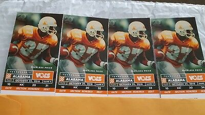 Tenn Vols vs Alabama Crimson Tide Football 4 tickets Section KK, Row 20 $360