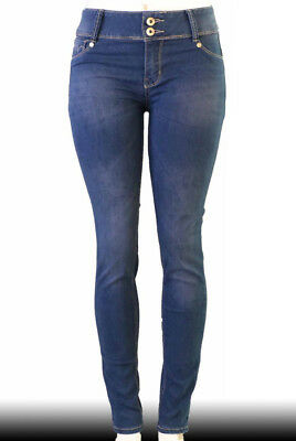 High Waist  Stretch Push-Up Colombian Style Skinny Jeans in M. blue  E051