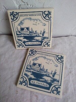 HOLLAND AMERICA Cruise Line Coasters- Ceramic Tile/ Corked Back. Collectible