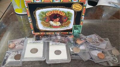 cuesta rey cigar box filled with assorted american coins