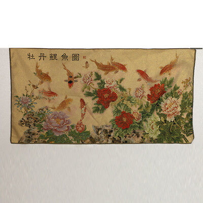 Tibet Collectable Silk Hand Painted  Peony & Goldfish  Thangka RK053.a
