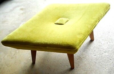 Mid Century ATOMIC OTTOMAN ~Retro lime green fabric *Nice vintage condition