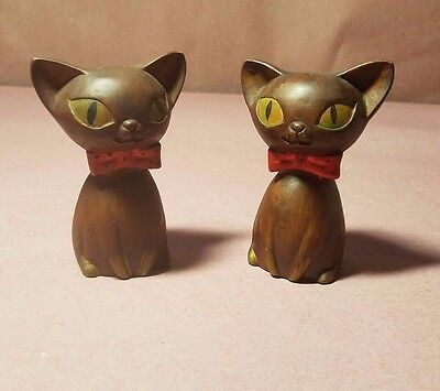 Cat Salt and Pepper Shakers Japan Brown Red Bow Tie Unique Collectibles Cute Set