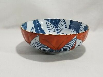 """BUTTERFLY Japanese Bowl 三峰 Sanpō ? Blue / White Red / White SIGNED BOWL 6"""""""