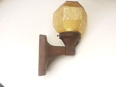 Art Deco Antique Cast Iron Porch light fixture Sconce Amber Glass Hexagon Globe