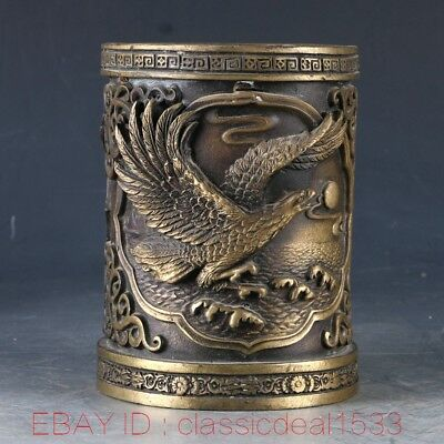 Chinese Copper Handwork Carved Eagle Brush Pot W XuanDe Mark CC0214
