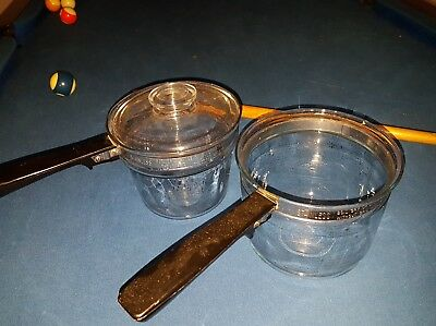 Vintage PYREX GLASS  SAUCEPAN Double Boiler Stove Top