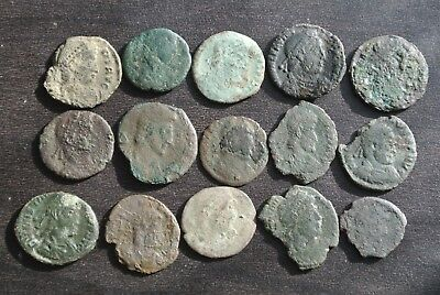 Lot Of 15 Low Quality Partially Cleaned/uncleaned Ancient Roman Coins