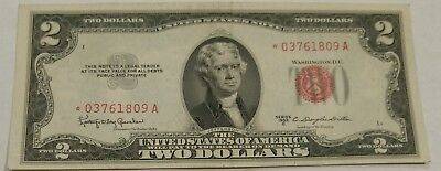 1953C series XF STAR $2 United States Note. No holes, tears or ink. *03761809A