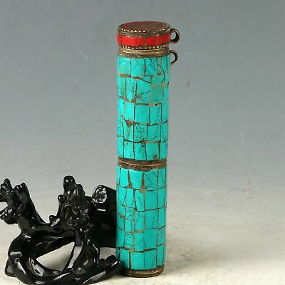 Chinese Turquoise Handwork Carved Letter Box CC0828